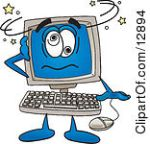 12894-Clipart-Picture-Of-A-Desktop-Computer-Mascot-Cartoon-Character-Confused-And-Seeing-Stars