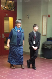 Principal for the Day Jacob Polchies greets the students to a new day at GMS.
