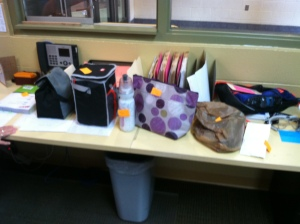 "Just a small sample of ""stuff"" brought for students who forgot it at home!"